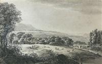 landschaft mit dorf und steinbrücke by johann philipp veith