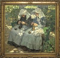 zwei landfrauen bei der handarbeit by ernst müller-scheessel