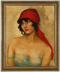 portrait of a lady wearing a red headscarf by reva jackman