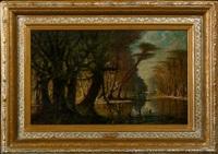 mystic louisiana bayou scene with white heron by john antrobus