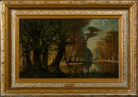 mystic louisiana bayou scene with white heron by john antrobus