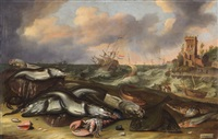fish still life with stormy sea by willem ormea and adam and abraham willaerts