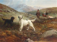 a hunting party with setters on the moors by george earl