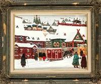 verschneite moskauer stadtansicht mit reicher figurenstaffage by vladimir nikolaevitch aralov