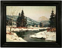 river flowing through a winter landscape by stephen ward
