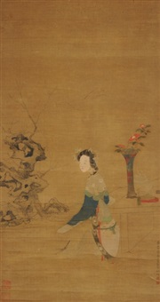 sitzende schönheit am tisch mit kamelien und räuchergefäss by anonymous-chinese (18)
