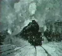 lokomotive in einem bahnhof im winter by vilem kreibech