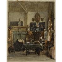 hoekje in mijn atelier, veenlaan te s-gravenhage - corner in my studio, veenlaan, the hague by johannes bosboom