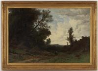 paysage de campagne animé by gustave eugène castan