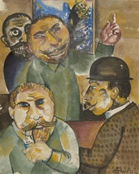 vier herren vor einem bild by alois erbach