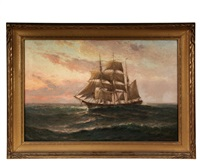 barque underway at sunset by theodore victor carl valenkamph