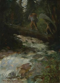 portaging over the river (+ figure study, verso) by horace weston taylor