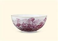 矾红彩山水薄胎碗 by xu huanwen