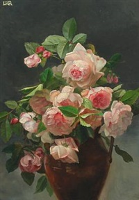 still-life with pink roses by ludovica kabell-rosenorn