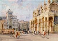 die basilika san marco und der uhrturm by angelo brombo