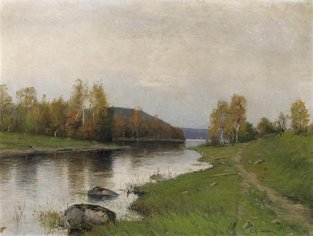 blick in schwedische auenlandschaft by erik johan wilhelm abrahamson