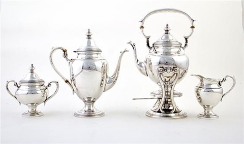 tea and coffee service set of 4 by fisher silversmiths co