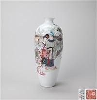 粉彩薄胎 西厢记 人物故事瓶 by fu fasheng and ren yiping