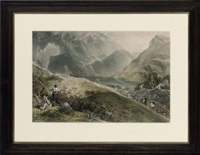 views in the lake district, after james baker pyne (from lake scenery of england) by thomas picken
