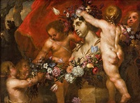 putti adornando un busto de flora by guillaume courtois and abraham brueghel