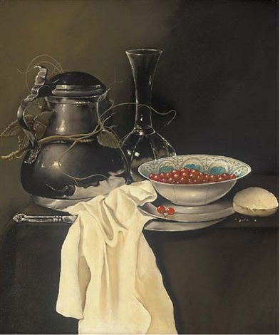 a pewter jug glass vase and bowl of cherries by paul karslake