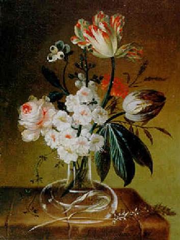 blumenstilleben mit rosen, tulpen, mohn und primeln in einer glasvase by johann martin metz