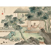 landscape after ancient masters (album w/ 8 works) by jiang buying