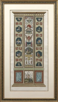 architectural panels of the raphael's vatican loggia (pair) by joannes volpato