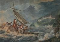 segelboot – beladen mit vier männern, pferd und hund – in seenot by johann conrad gessner