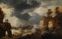 shipwreck in stormy seas of the coast of south america by bonaventura peeters the elder