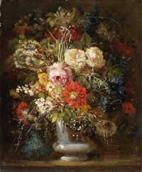 üppiger blumenstrauss in vase by simon saint-jean