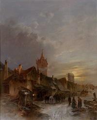 mittelalterliches städtchen bei abendlicher beleuchtung an einem wintertag by emile renard