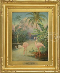 pink flamingos by jane peterson