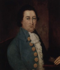 portrait of gentleman wearing light-blue coat with large brass buttons by ralph earl