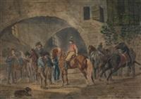 stallung mit kavalleristen by johann conrad gessner