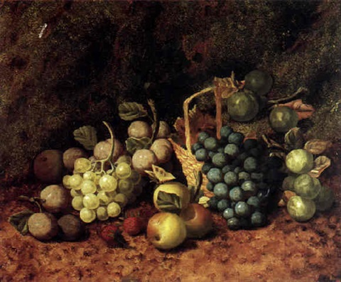 a still life with grapes plums apples and strawberries by henry j livens