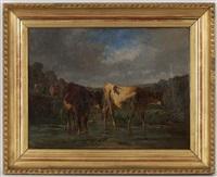 vaches, mouton et paysan dans un paysage (pair) by antonio cortés cordero