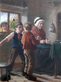 interiors with children and grandparents (pair) by william hemsley