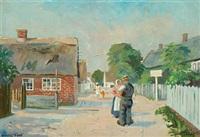 danish summer landscape with people conversing by johannes meyer andersen