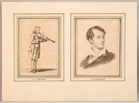 lord byron (+ violonniste, watercolor; 2 works) by jacques-antoine arlaud