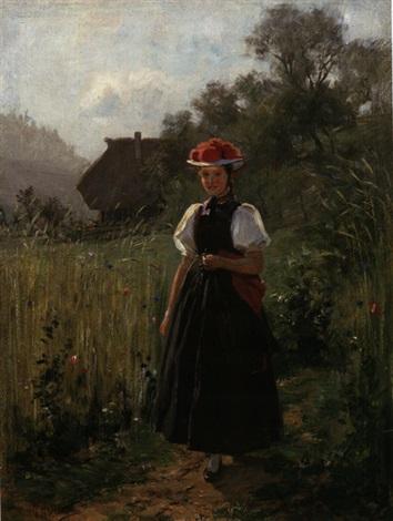 junge gutacherin nahe schwarzwald bauernhof by wilhelm g hasemann