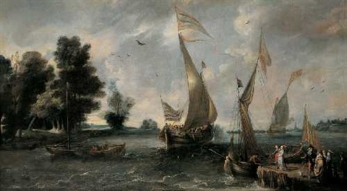 flussansicht mit booten einem anleger und figuren by andries van eertvelt