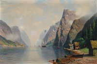 norwegian mountainscape with houses and ships by johannes harders