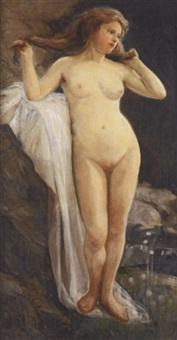 stehender weiblicher akt im freien by r. bathiou