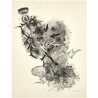 summer, thistle, butterfly; untitled (2 works) by louis lozowick