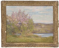 trees in blossom on a river bank by augustus william enness