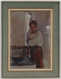 jeune fille à la mamaliga by honorius cretulescu