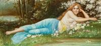 liegendes mädchen am waldteich unter blühendem busch by hans zatzka