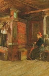 interiör med syende kvinna och gosse by alma arnell