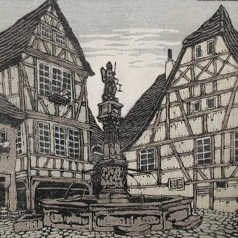 michelsbrunnen bei michelstadt by carl theodor thiemann